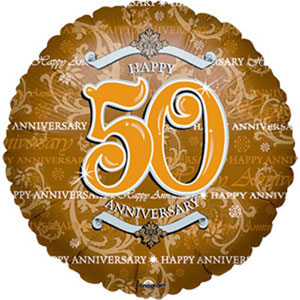Image of Foil Balloon  50th Gold Anniversary Round