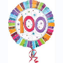 FOIL BALLOON - RADIANT 100TH BIRTHDAY PRISMATIC
