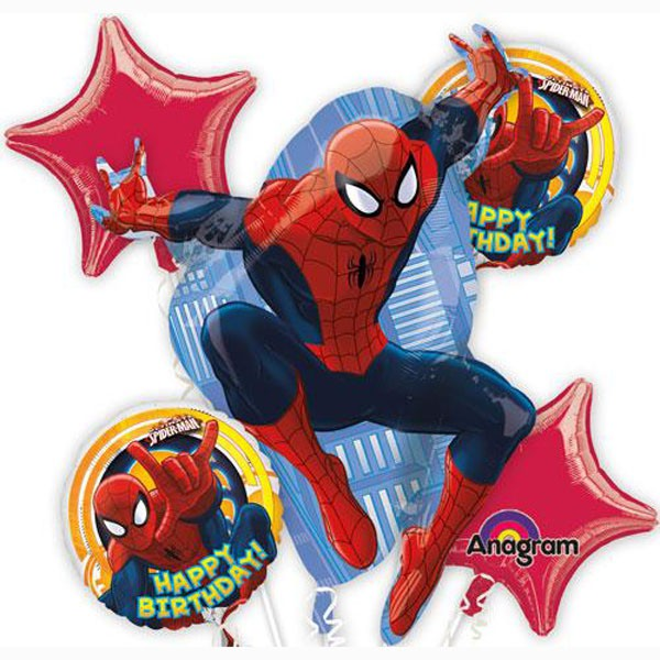 FOIL BALLOONS - SPIDERMAN BOUQUET PACK OF 5