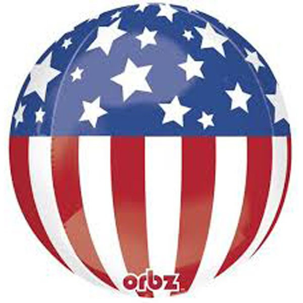 FOIL BALLOON - PATRIOTIC USA STARS & STRIPES ORBZ