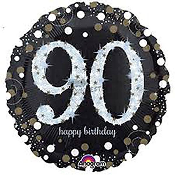 FOIL BALLOON - 90TH CELEBRATION HOLOGRAPHIC