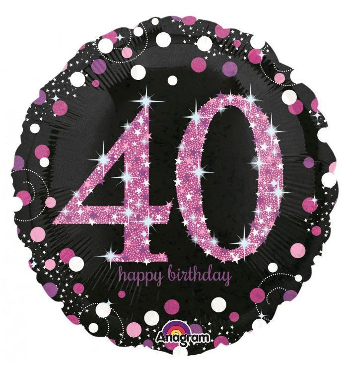 FOIL BALLOON - 40TH HAPPY BIRTHDAY PINK HOLOGRAPHIC