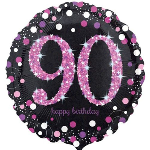 FOIL BALLOON - 90TH PINK CELEBRATION HOLOGRAHIC