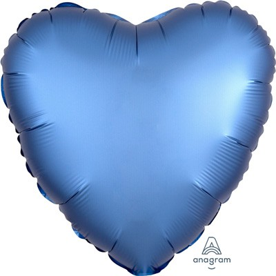 FOIL BALLOON HEART SHAPE - SATIN CHROME AZURE BLUE