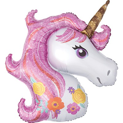 FOIL SUPER SHAPE BALLOON - UNICORN HEAD MAGICAL FLORAL DESIGN