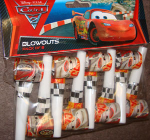 CARS 2 - PARTY BLOWOUTS PACK OF 8