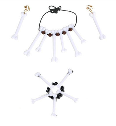 CAVEWOMAN OR MAN VOODOO NECKLACE & EARRING SET