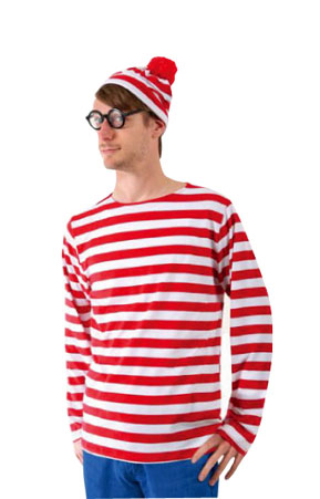 WHERE'S WALLY RED & WHITE STRIPED SHIRT