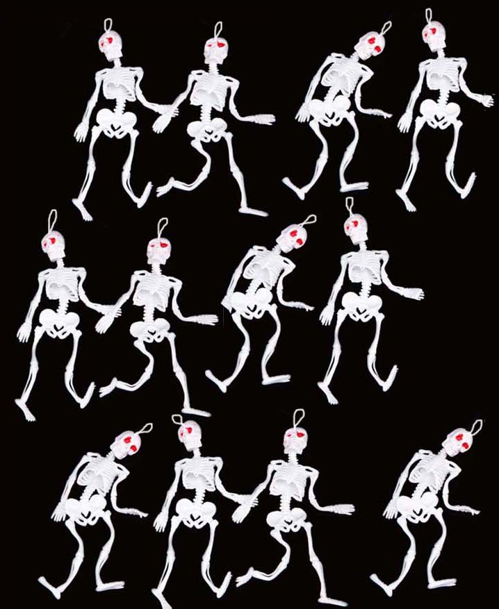 HANGING RUBBER SKELETONS WITH RED EYES - PACK OF 12