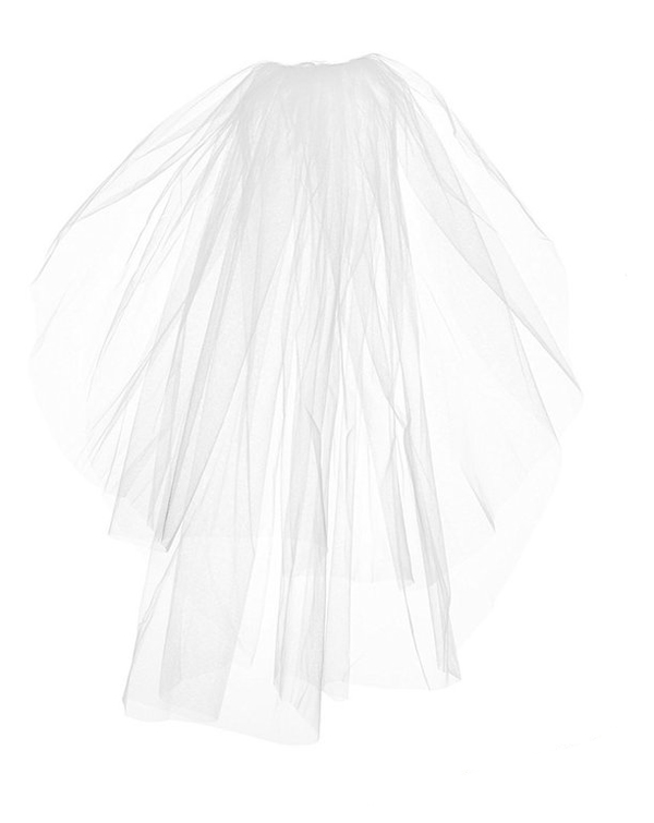 VEIL - PLAIN WITH WHITE SATIN EDGING