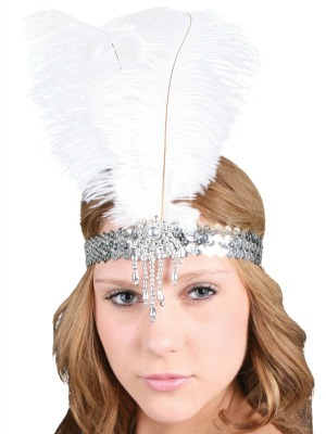 FLAPPER / 1920'S FEATHER HEADDRESS CLARA BELLE - WHITE & SILVER