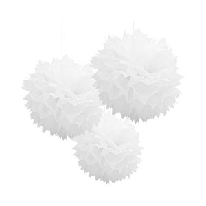 POM POM FLUFFY TISSUE DECORATION - WHITE IN A PACK OF 3