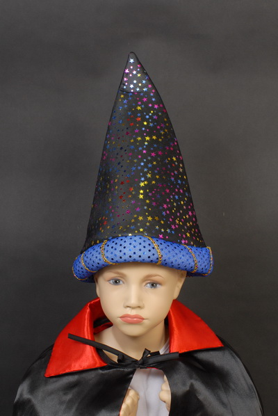 WIZARD HAT - BLACK WITH MULTI COLOURED STARS