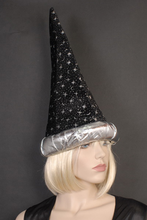 WIZARD HAT - BLACK WITH SILVER STARS & MOONS