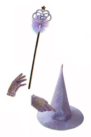 WITCH/WIZARD SEQUINED HAT,GLOVES & MAGIC WAND -CHOICE OF COLOURS