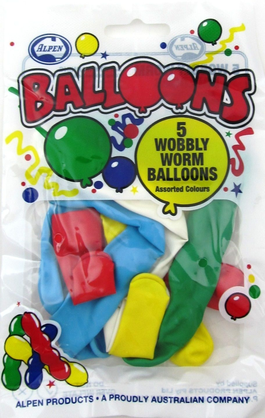 PARTY FAVOURS - WOBBLY WORM BALLOONS PACK OF 5