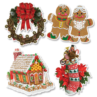 HOME FOR CHRISTMAS CUT OUTS PACK OF 4