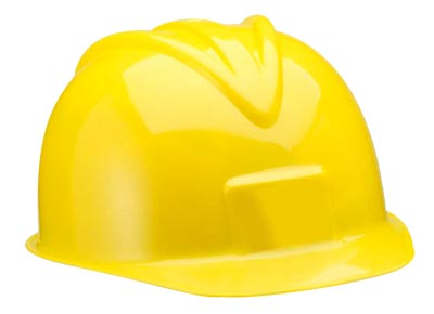 CHILD\'S YELLOW PLASTIC CONSTRUCTION HARD HAT