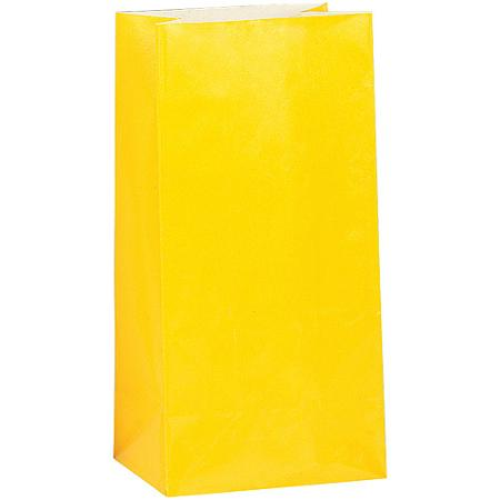 PAPER LOOT BAGS - YELLOW - PACK OF 12