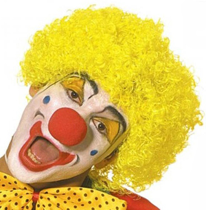 CURLY CLOWN WIG - YELLOW