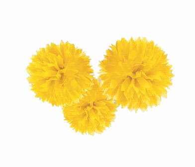 POM POM FLUFFY TISSUE DECORATION - YELLOW IN A PACK OF 3